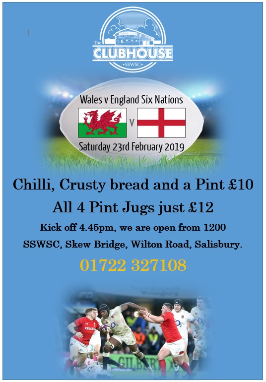WALES V ENGLAND SIX NATIONS ON THE BIG SCREEN @ The Parker Bullen Bar The Clubhouse Salisbury