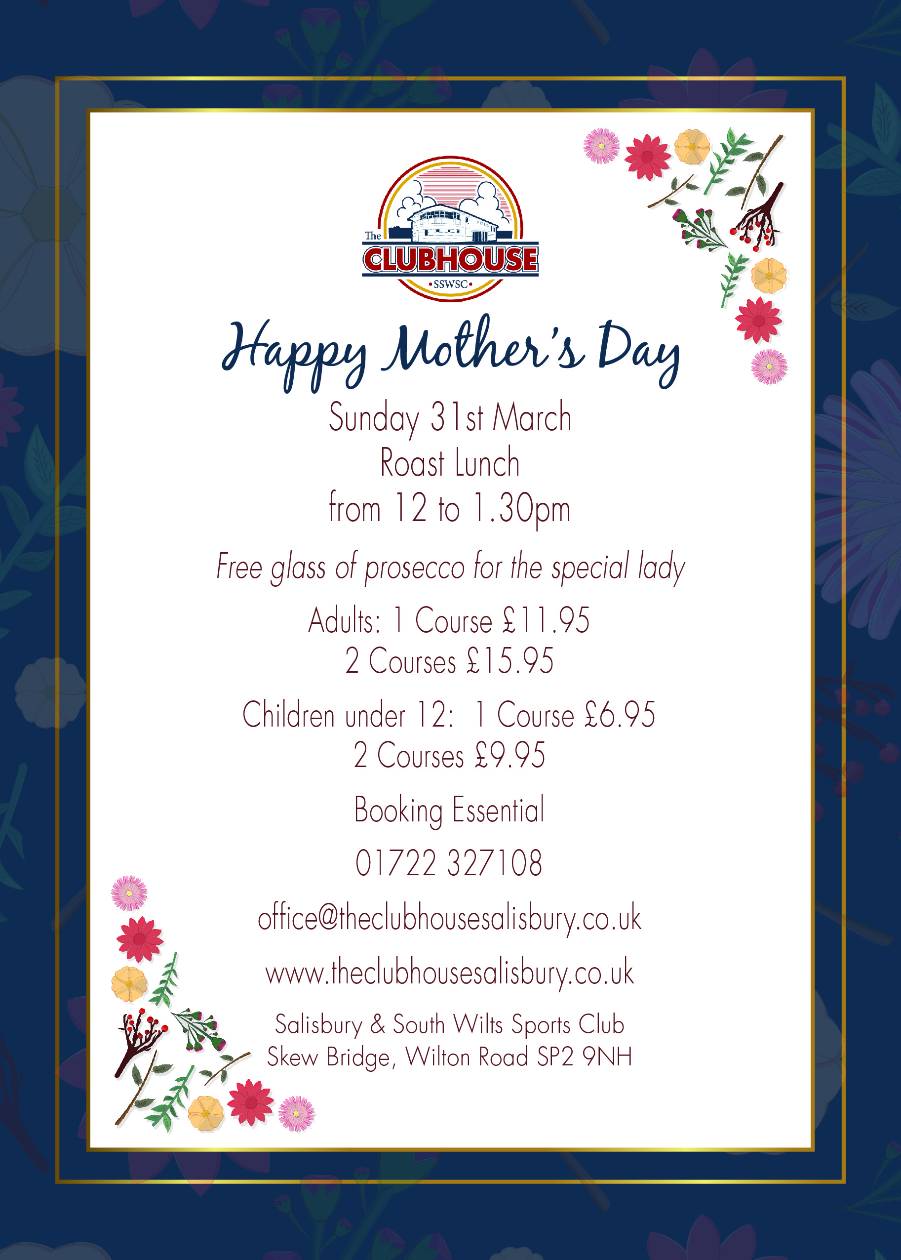 Mother's Day Roast Lunch 12:00 - 13:30 @ The Parker Bullen Bar The Clubhouse Salisbury