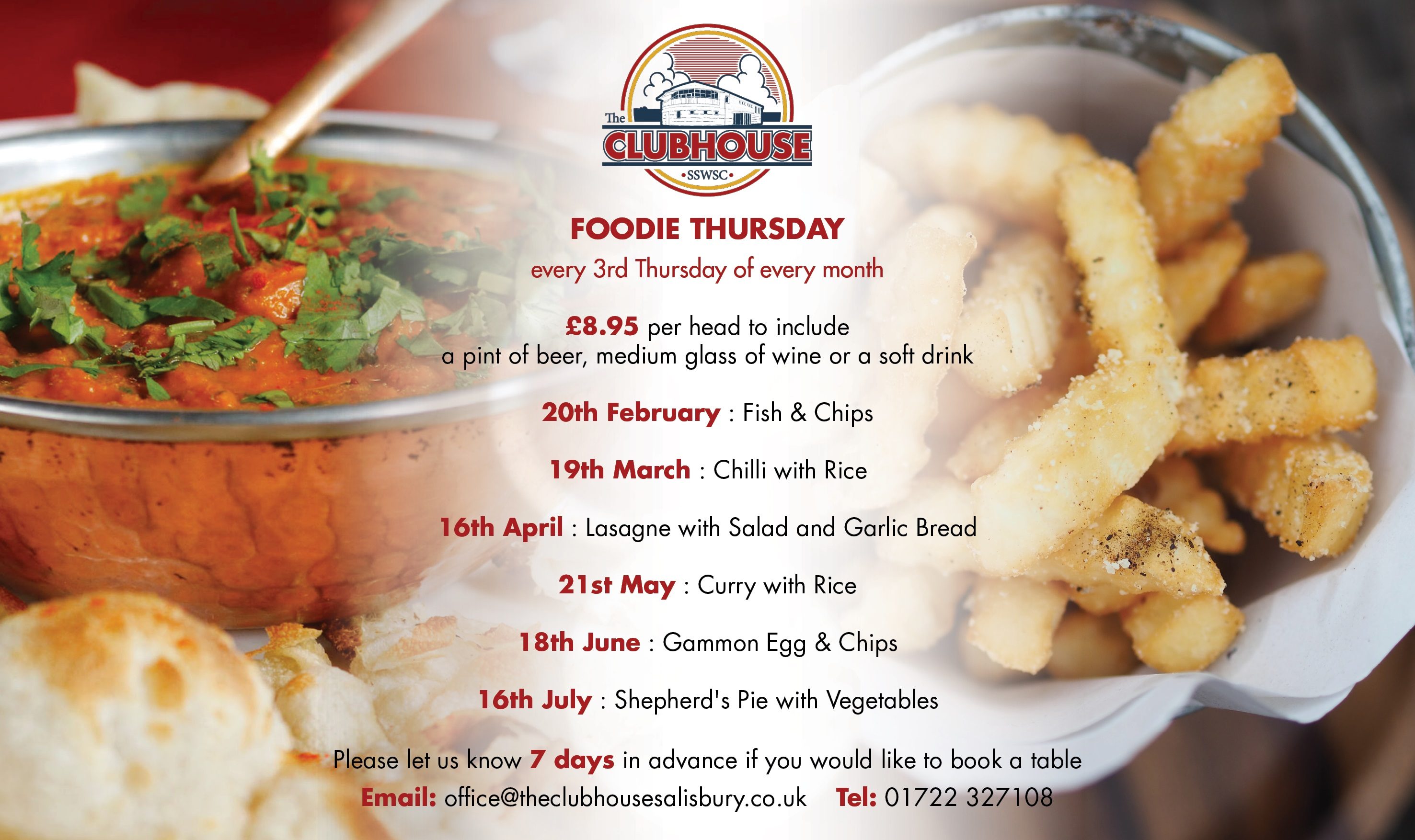 Foodie Thursday 6:30 - 8:00 @ The Parker Bullen Bar The Clubhouse Salisbury